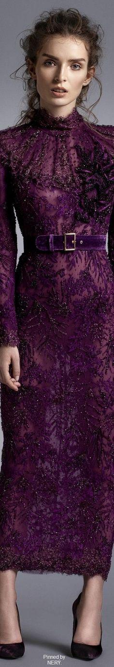 Haute Couture Robe Perlée et brodée Mauve Alfazairy Fall-Winter 2016/2017