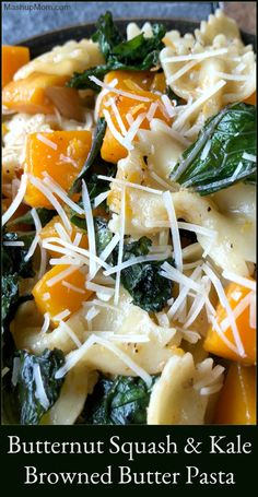 This colorful butternut squash & kale browned butter pasta recipe is not just a feast for your eyes, it's a hearty comfort food recipe for your next Meatless Monday! Try this vegetarian pasta recipe the next time you pick up a butternut squash on sale. Vegetarian Pasta Recipes, Healthy Recipes, Vegetarian Comfort Food, Vegetarian Lunch, Butter Squash Recipe, Butternut Squash Pasta, Kale Pasta, Recipes With Butternut Squash, Veggie Pasta