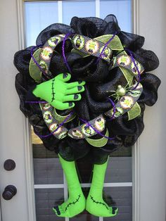 Halloween Frankenstein Deco Poly Mesh Wreath by MaddyMooNTrixie2, $90.00