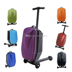 Innovative 21 inch Kid's Universal Wheel Board Micro Scooter Luggage Suitcase Bag PC Material Hard Travel Trolley Bags