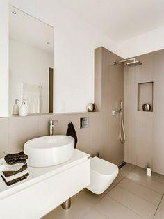 Cappuccino tiles and white color in the small bathroom - Marble Bathroom Beige Bathroom, Modern Bathroom, Small Bathroom, Bathroom Ideas, Bathroom Flooring, Bathroom Furniture, Shelf Furniture, Bathroom Wallpaper, Mirror Bathroom