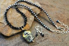 Owl Art Glass Necklace Set Black Onyx and Peacock by JensFancy, $145.00
