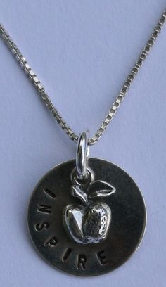 teachers gift, hand stamped with sterling apple charm and sterling chain, $55 special order