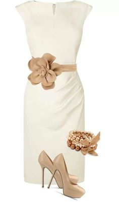 white and beige - classy outfit Breath taking! I need a tan belt to match my shoes (women's classy style ideas) Mode Outfits, Fashion Outfits, Womens Fashion, Fashion Trends, Outfits 2014, Ladies Fashion, Dress Fashion, Fashion Clothes, Mode Chic