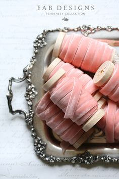 Blush Velvet Ribbon Pink Velvet Ribbon 3/8 Velvet by eabdesigns #blushwedding #velvetribbon