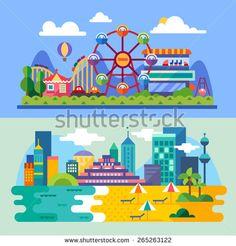 Summer city beach, amusement park landscapes: ferris wheel, roller coasters, balloon, sea,beach. Vacation. Vector flat  illustrations - stock vector