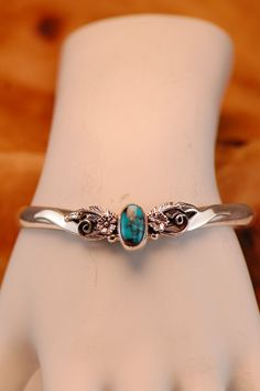 Sterling Silver Spiderweb Turquoise Drop Cuff Bracelet by Les Baker