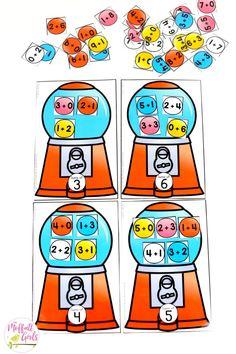 Bubble Gum Addition- such a fun math center! Plus, MORE hands-on addition math centers for Kindergarten! Teach basic addition in a variety of ways that help students build math skills. Math Stations, Math Centers, Math Fact Fluency, Math Graphic Organizers, Montessori Math, Kindergarten Fun, Preschool, Math Activities, Math Games