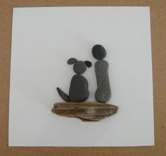"""From my love for beachcoming, I make collages from the pebbles, shell bits and sea glass I find on the Kennebunk Beach in Maine. No two are alike. Here I have created a dog with its """"parent"""", availabl"""
