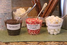 Cocoa bar and other fun winter lodge ideas like snowflake entry way