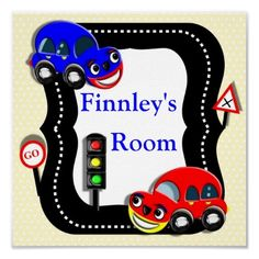 Cute Cars Boys Room Personalized Name Picture  Just the thing for any little boy this Traffic theme personalized name poster. Such cute cartoon style cars, road markings, traffic lights and signs In bright colors, a fun poster to hang on the wall.