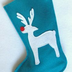 Christmas Stocking  Rudolph Reindeer in by stitcholicious on Etsy, $17.00