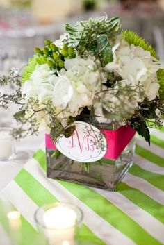 Great use of monogram on table arrangements