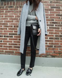Classic style - black pants, black flats and grey minimalist coat and sweater, and over sized black clutch - MY NEW LOOK