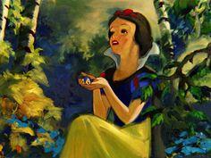 """Friendly Forest"" by Jim Salvati | Disney Fine Art | Disney's Snow White and the Seven Dwarfs"