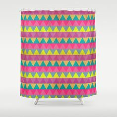 Colored Triangles Shower Curtain by Louise Machado - $68.00