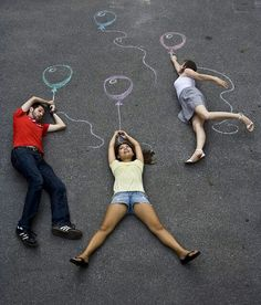 Fun project for kids. Chalk drawings that feature THEM!