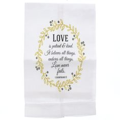 Love is Patient & Kind Wreath Linen Towel.. a lovely bridal shower gift.