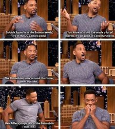 Will Smith on seeing the Batmobile and Batman on the set of Suicide Squad. Again not Marvel but still AMAZINGGGGG Harley Quinn, Dc Memes, Funny Memes, Hilarious, Marvel Dc, Marvel Funny, Rick Flag, Bd Comics, Batman