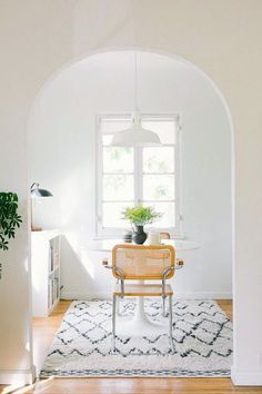 white dining space with small table for two / sfgirlbybay