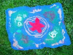 Multicolor Rug, 100% Wool Rug, Felted Pet Mat, felted pet bed, handmade felted pet bed, felted wool rug, Made in Ireland, ready to ship by MarigoldBlossom on Etsy