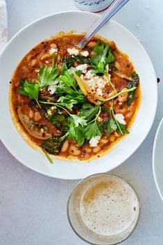 Spicy White Bean Stew with Broccoli Rabe: Directions, calories, nutrition & Soup Recipes, Vegetarian Recipes, Cooking Recipes, Healthy Recipes, Weeknight Recipes, Vegan Soups, Bean Recipes, Weeknight Dinners, Cooking Ideas