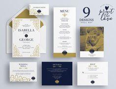 Printable Wedding Invitation Set Printable por PrintTheLoveBoutique