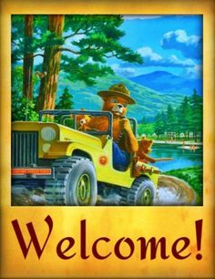 Un vrai gentleman, Hunter, de la nature et plus encore. National Park Posters, National Parks, Us Forest Service, Smokey The Bears, Art Deco Posters, Bear Art, Vintage Fishing, Back To Nature, Vintage Signs