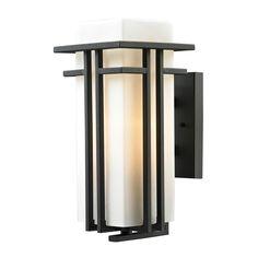 Elk Lighting 45086/1 Croftwell 1 Light Outdoor Wall Sconce Matte Black Outdoor Lighting Wall Sconces