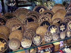 In Toledo, Spain - damascene jewelry, beautiful metal inlay.