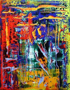 Lubomír Miča,abstraktný obraz, olej na plátne 95x75cm