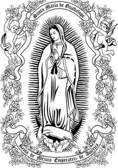 Step by step Drawing Our Lady of Guadalupe Catholic Art, Religious Art, La Santa Muerte Tattoo, Coloring Books, Coloring Pages, Mary Tattoo, Jesus E Maria, Religious Tattoos, Desenho Tattoo