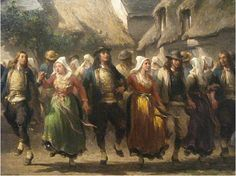 """Adolphe Leleux (1812-1891"""",  Danses bretonnes,  détail"""", 1823"""