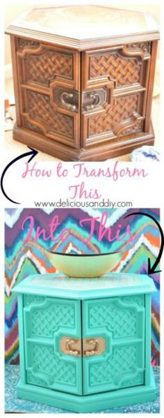 This old coffee - end table gets an amazing and beautiful makeover