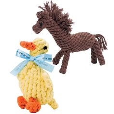 Cuter than a bone; Duck & Horse rope toys, crafted of naturally fraying rope to keep your pet's teeth clean. Sweet!