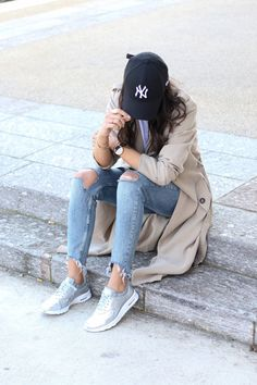 "justthedesign: ""Add some cool and casual vibes to your trench coat look by accessorising with a NY Yankees cap or a pair of metallic sneakers, like Federica L! This laid back style is perfect for..."