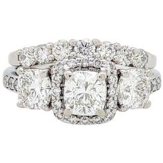 d4168486b8 Preowned 14k White Gold 3-stone Cushion Cut 2.62ctw Diamond Halo...  ( 3