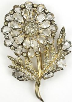 Eisenberg Original Sterling Goldwash and Diamante Stones Giant Flower and Leaves Pin Clip