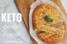 The MOST POPULAR recipe for cheesy keto garlic bread - using mozzarella dough. Only net carbs per slice. This is the Holy Grail of keto garlic bread. Garlic Cheese Bread, Cheesy Garlic Bread, Keto Cheese, Gluten Free Garlic Bread, Almond Recipes, Bread Recipes, Low Carb Recipes, Cooking Recipes, The Menu