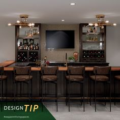 Enhanced with a spill proof backsplash, wine racks and open shelving ensure wine and spirits are easily accessible on game day! #waypointlivingspaces #kitchencabinets #kitchenremodel #designtip #kitchendesign #kitcheninspiration #kitchenrenovation #kitchenstyle #gameroom #basementremodel Bath Cabinets, Maple Cabinets, Kitchen Cabinets, Wine Bars, Basement Remodeling, Open Shelving, Cabinet Doors, Kitchen And Bath, Kitchen Organization
