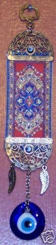 "9"" Long 1 1 2"" Glass Turkish Evil Eye w Kilim Wall Good Luck Charm | eBay"