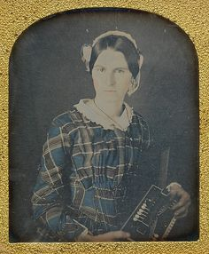 Young Woman with an Early Accordion - Ron Fasand 1840's