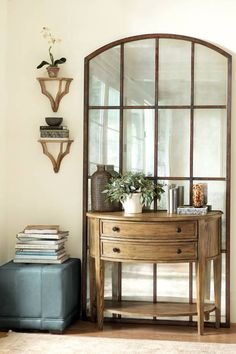 Furniture , Console Table With Drawers : Console Table With Drawers With Bottom Shelf And Window Picture Decor And Ottoman And Open Shelving