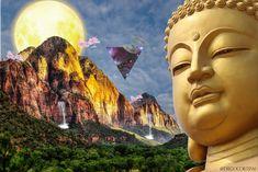 El iluminado, Buddha! Creación psicodelica Buddha, Photoshop, Trippy, Mount Rushmore, Mountains, Artwork, Nature, Travel, Work Of Art