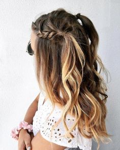 half-up, French-lace braid up through crown of head with loose waves at ends