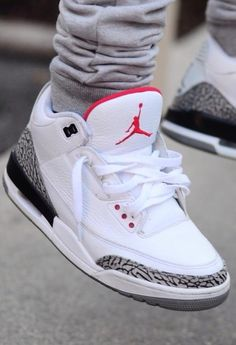 sneakers | Air Jordan 3. White Cement. Thinking of getting a pair like this. Keeping it old school.