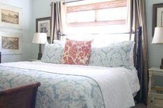 Iron bed in front of window. charm Love this bed! Master Bedroom Layout, Master Bedroom Bathroom, Bedroom Layouts, Blue Bedroom, Bedroom Decor, Bedroom Ideas, Iron Headboard, Handmade Home, House Design