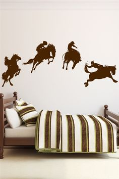 Add some rodeo style excitement to your room with cowboy wall decals. A brave cowboy holds on tight as the horse does a sequence of jumps. Boys Cowboy Room, Cowboy Bedroom, Cowboy Nursery, Western Rooms, Western Decor, Cowboy Home Decor, Kids Wall Decals, Art Wall Kids, Western Style