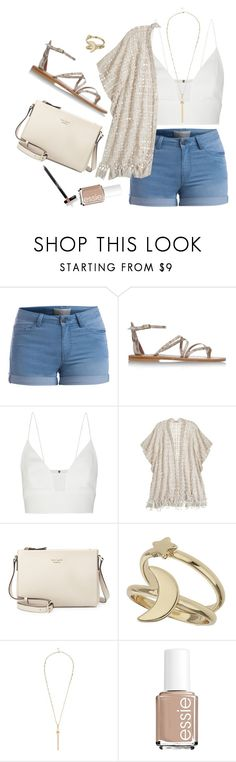 """""""Untitled #1108"""" by moria801 ❤ liked on Polyvore featuring Pieces, K. Jacques, Narciso Rodriguez, Calypso St. Barth, Kate Spade, Miss Selfridge, River Island, Essie and Laura Geller"""