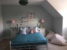 A cute children's bedroom with teal and pink interiors. Long Melford, Teal And Pink, New Homes For Sale, Cute Kids, Interiors, Bedroom, Furniture, Home Decor, Decoration Home